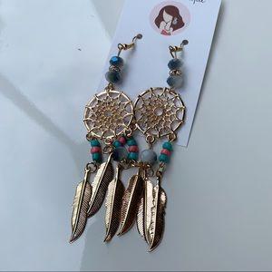 Boho dream catcher hoop earrings
